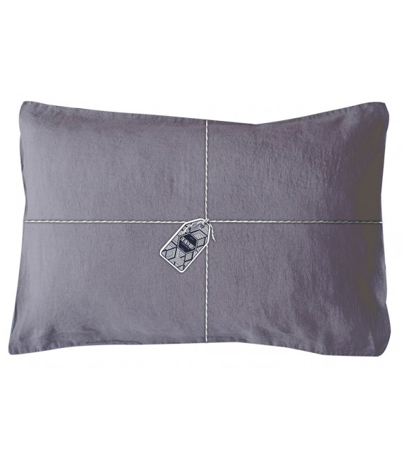 taie oreiller rectangle en lin lav coloris orage pressing de la cote. Black Bedroom Furniture Sets. Home Design Ideas