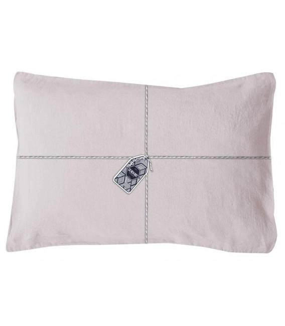 taie oreiller rectangle en lin lav coloris silex pressing de la cote. Black Bedroom Furniture Sets. Home Design Ideas
